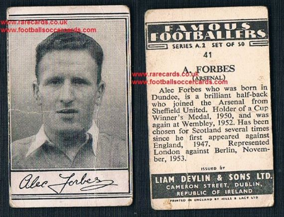 1952 Liam Devlin Ireland Series A2 #41 5s packet trimmed as issued Alec Forbes Arsenal